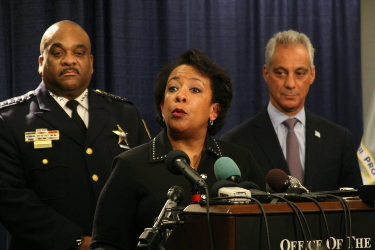 Attorney General Loretta Lynch speaks at a news conference Friday morning to announce the Justice Department's report on misconduct in the Chicago police department.