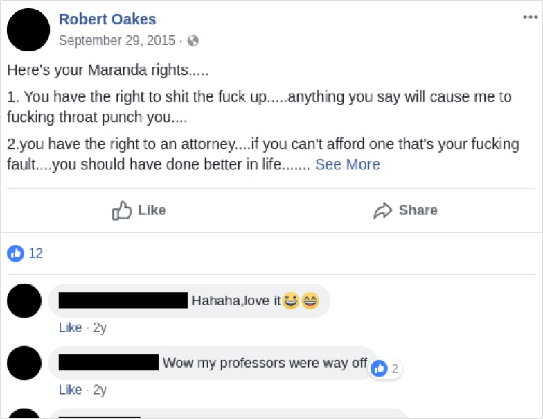 Cops' troubling Facebook posts revealed | In Plain View
