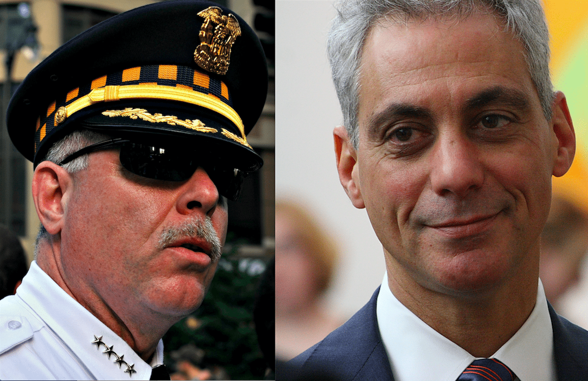 Former Superintendent Garry McCarthy and Mayor Rahm Emanuel