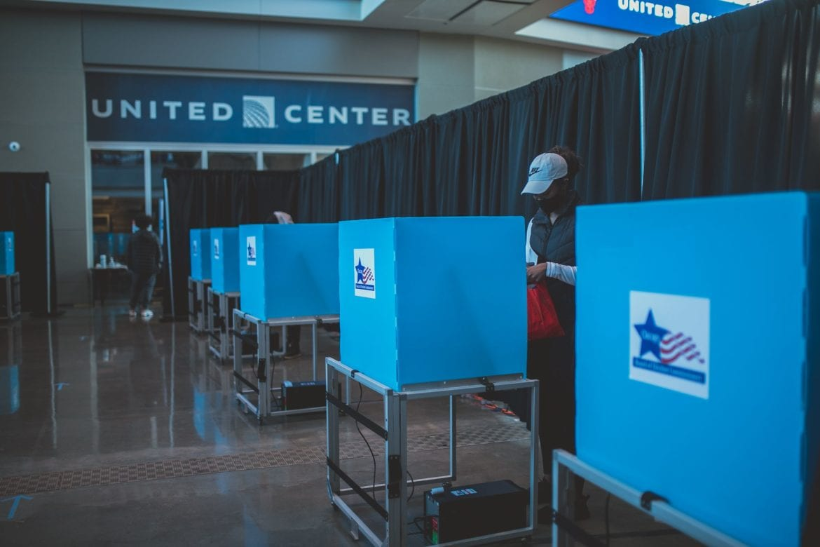 Voter at United Center on Election Day 2020