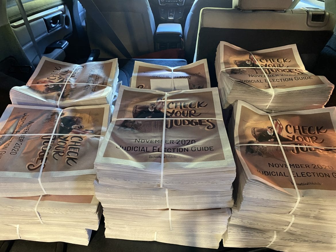 More than 1,000 copies of Injustice Watch's judicial election guide